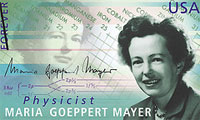 Commemorative stamp issued by the U.S. Postal Service featuring physicist Maria Goeppert Mayer