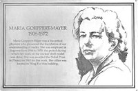 This plaque honors Argonne physicist Maria Geoppert Mayer