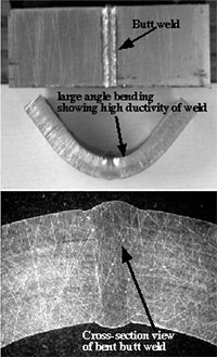 Butt weld of two 4 mm thick V-4Cr-4Ti plates made by a pulsed Nd:YAG laser