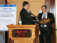 Andrew Bieniawski (DOE-NNSA Assistant Deputy Administrator of the Office of Global Threat Reduction) presented an award to Jordi Roglans-Ribas during RERTR-2011