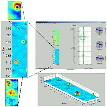 Eddy-current inspection data on 0.1 × 0.4 m section of RCC test piece